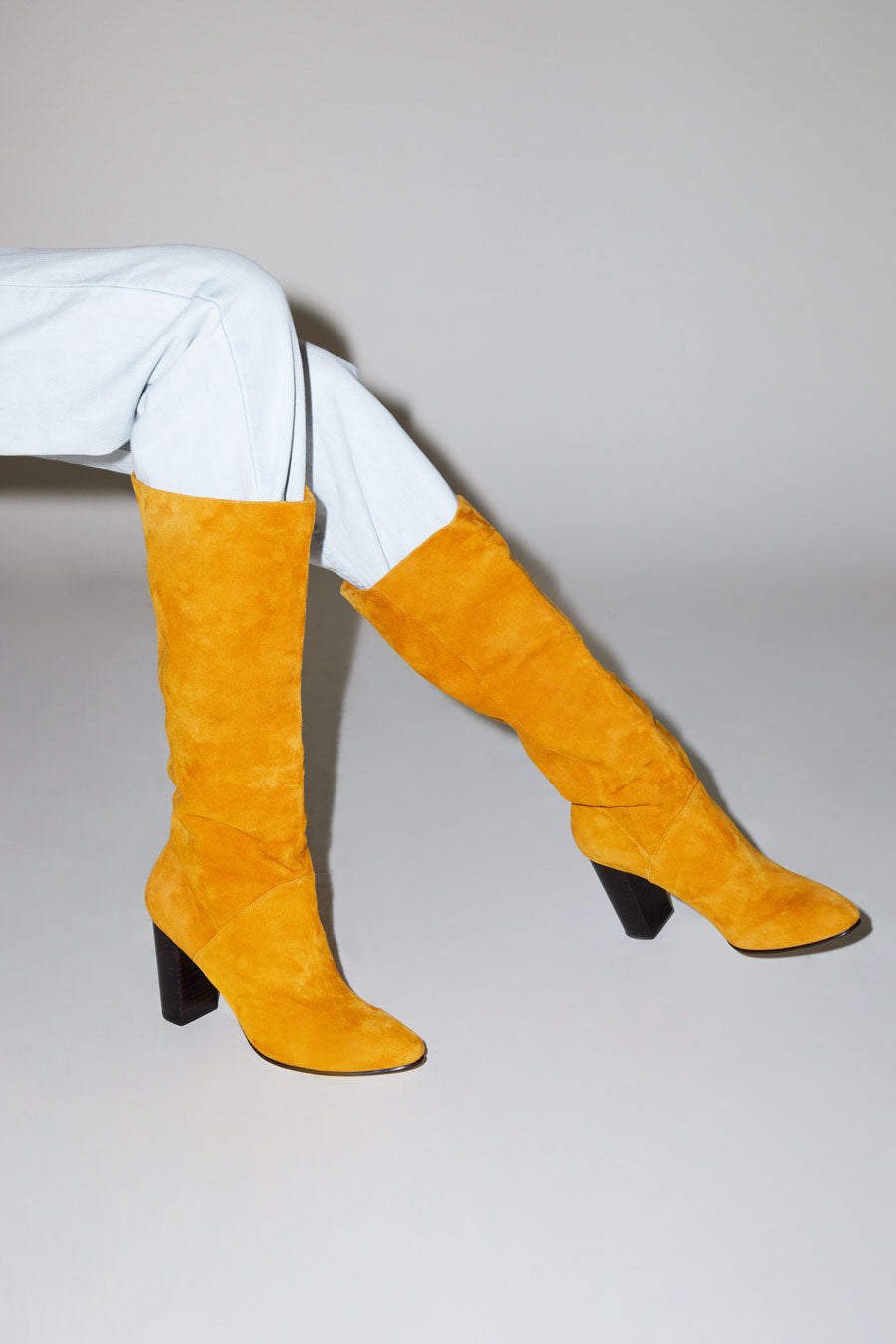 No.6 Naomi Tall Pull on Boot in Marigold Suede