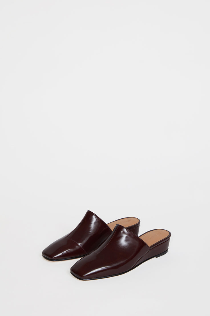 Image of No.6 Neema Slide in Oxblood Satinado