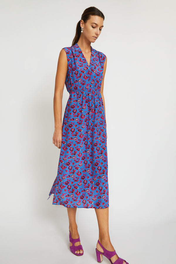 No.6 Alba Dress in Cobalt / Pink Primrose