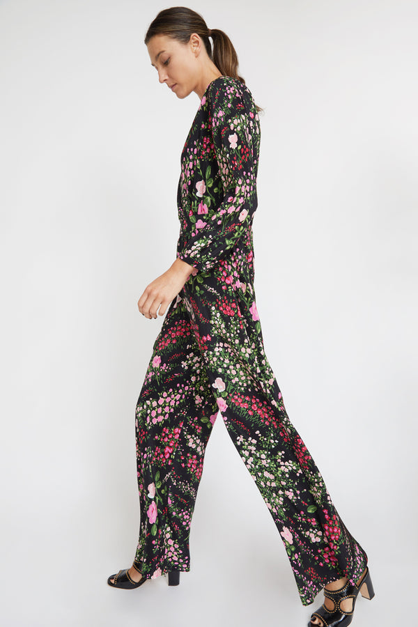 No.6 August Wrap Jumpsuit in Black English Garden