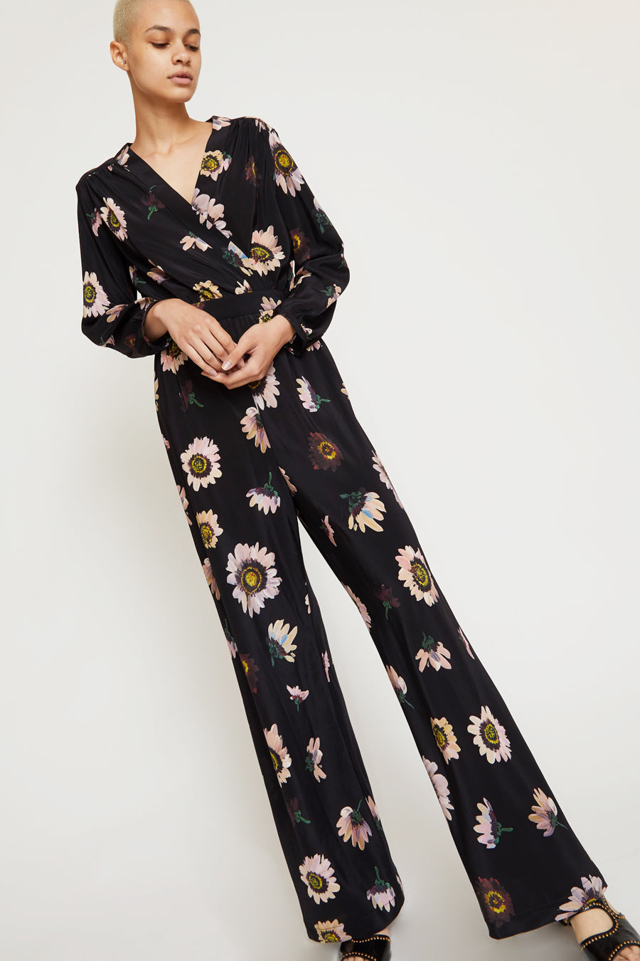 No.6 August Wrap Jumpsuit in Black Autumn Daisy