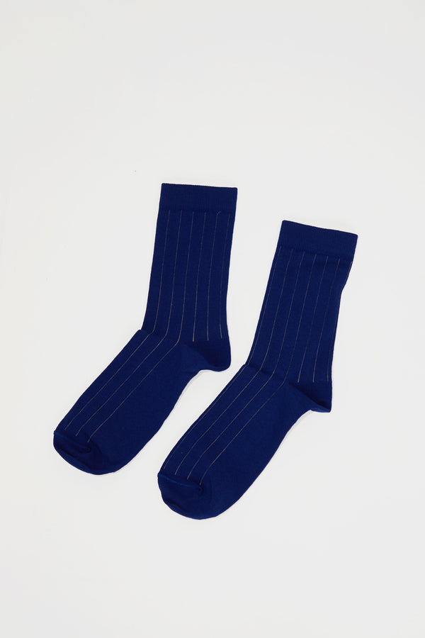 No.6 Bicolor Striped Sock in Navy and Sable