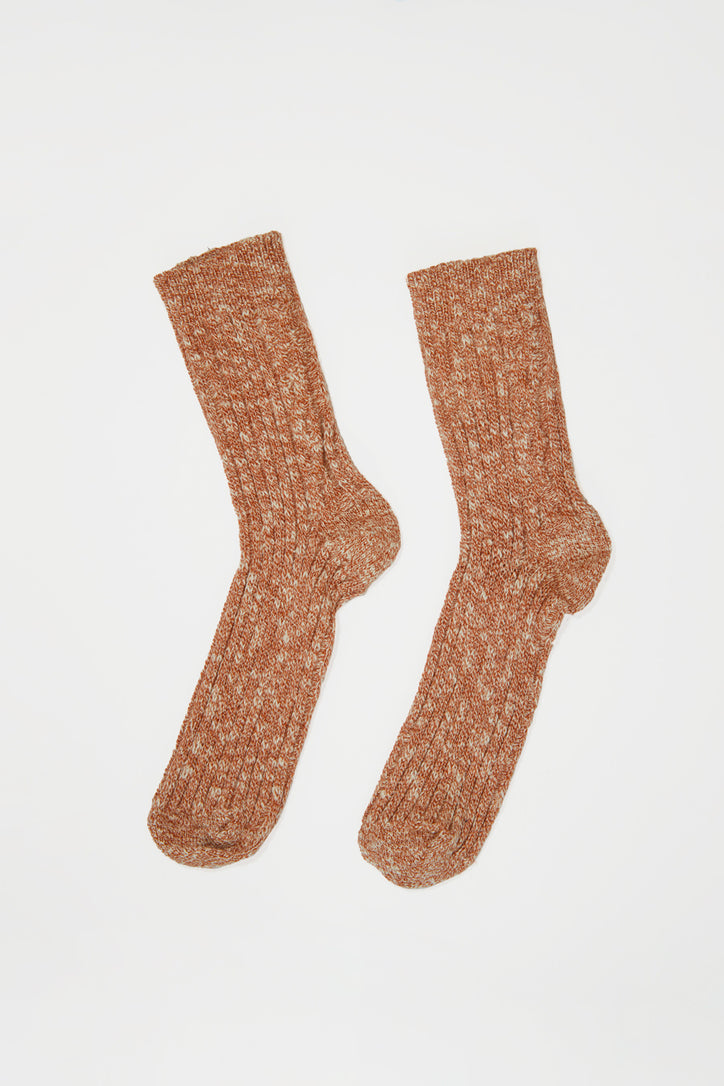 Image of No.6 Cable Knit Sock in Terra Melange