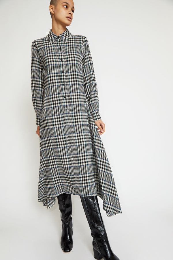 No.6 Campden Dress in Black / Cream Lightweight Plaid