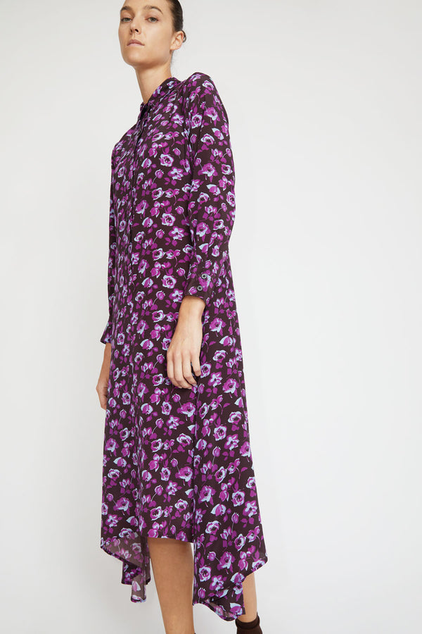 No.6 Campden Dress in Espresso / Violet Primrose