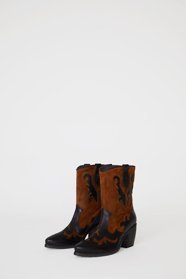 No.6 Slouch Western Boot in Toledo Nero / Bruciato
