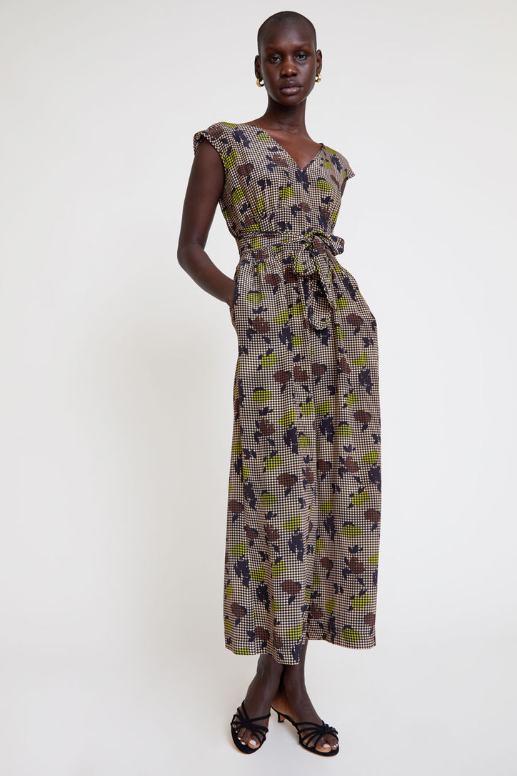 Image of No.6 Diana Jumpsuit in Brown Gingham Tulip