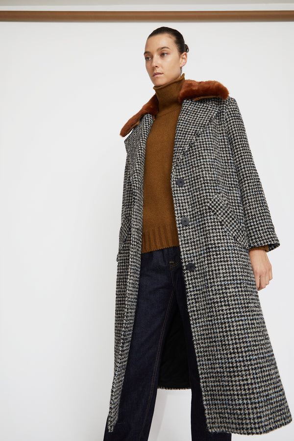 No.6 Edgar Coat in Black / Houndstooth Boucle