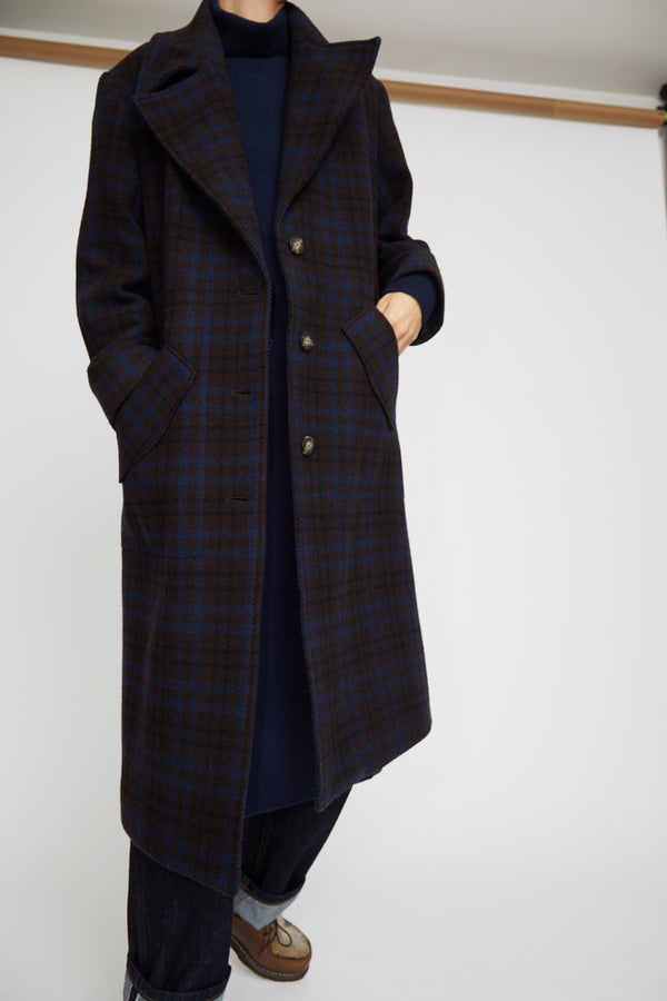 No.6 Edgar Coat in Espresso / Navy Plaid Wool