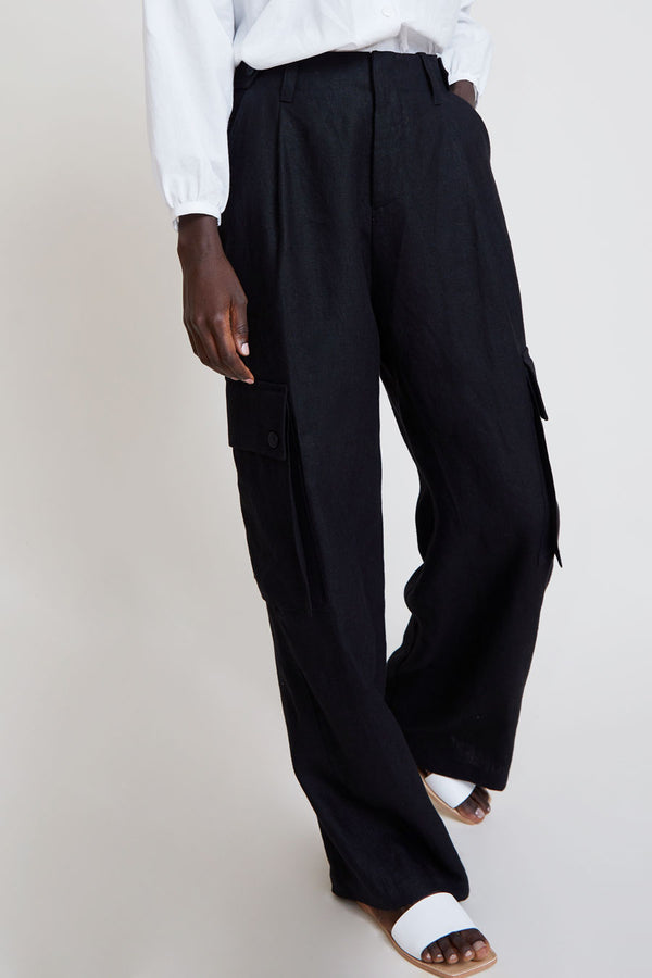 No.6 Edmund Cargo Pant in Black Linen