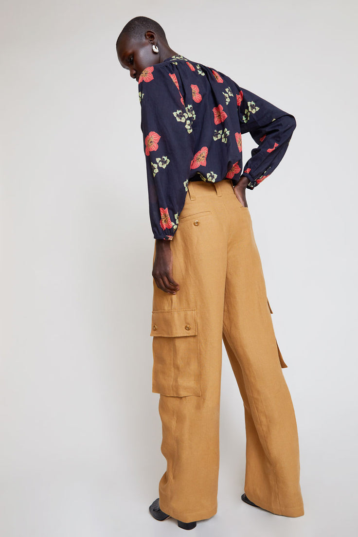 Image of No.6 Edmund Cargo Pant in Caramel Linen