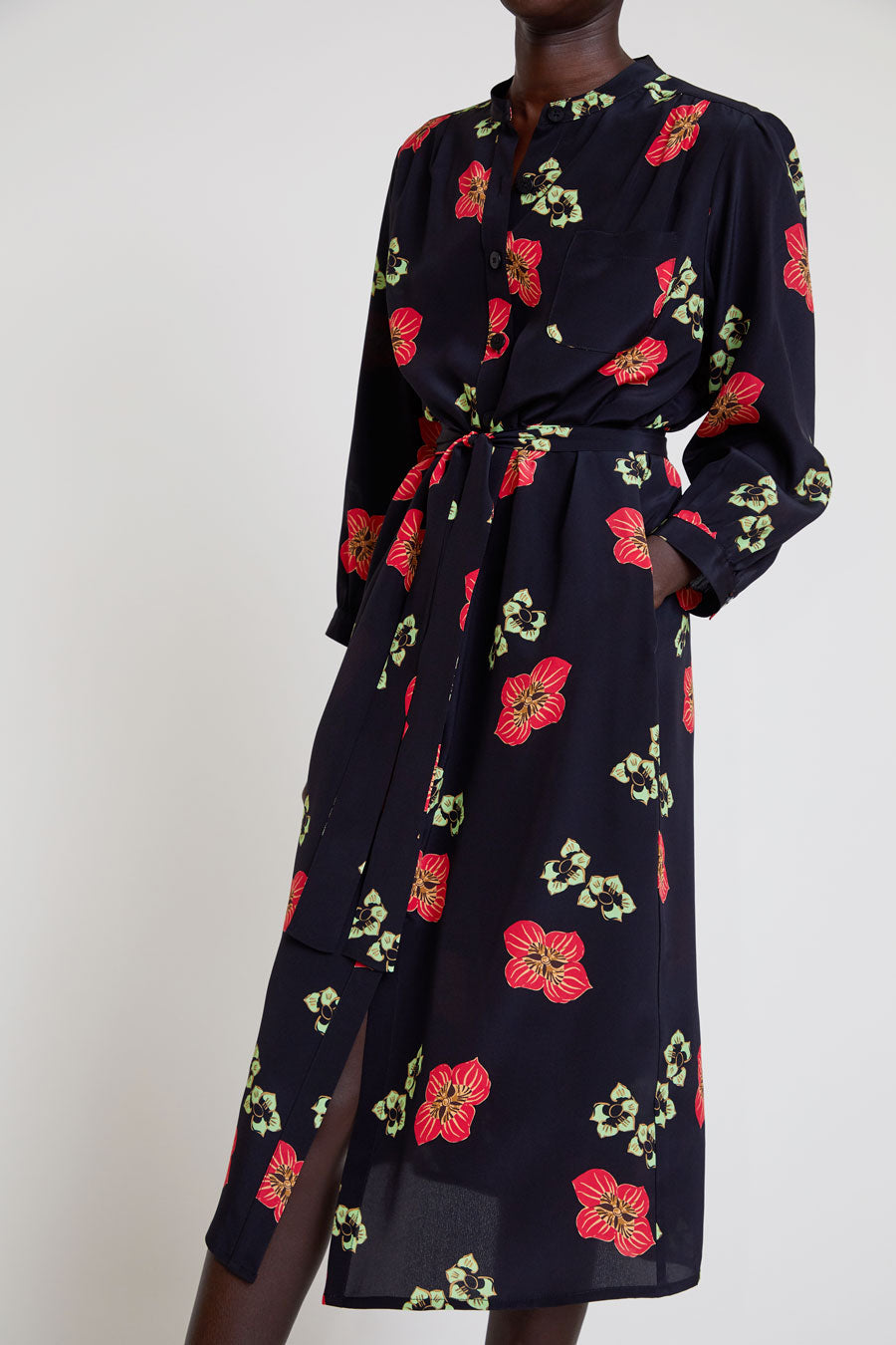 No.6 Elena Shirt Dress in Black and Red Amalfi