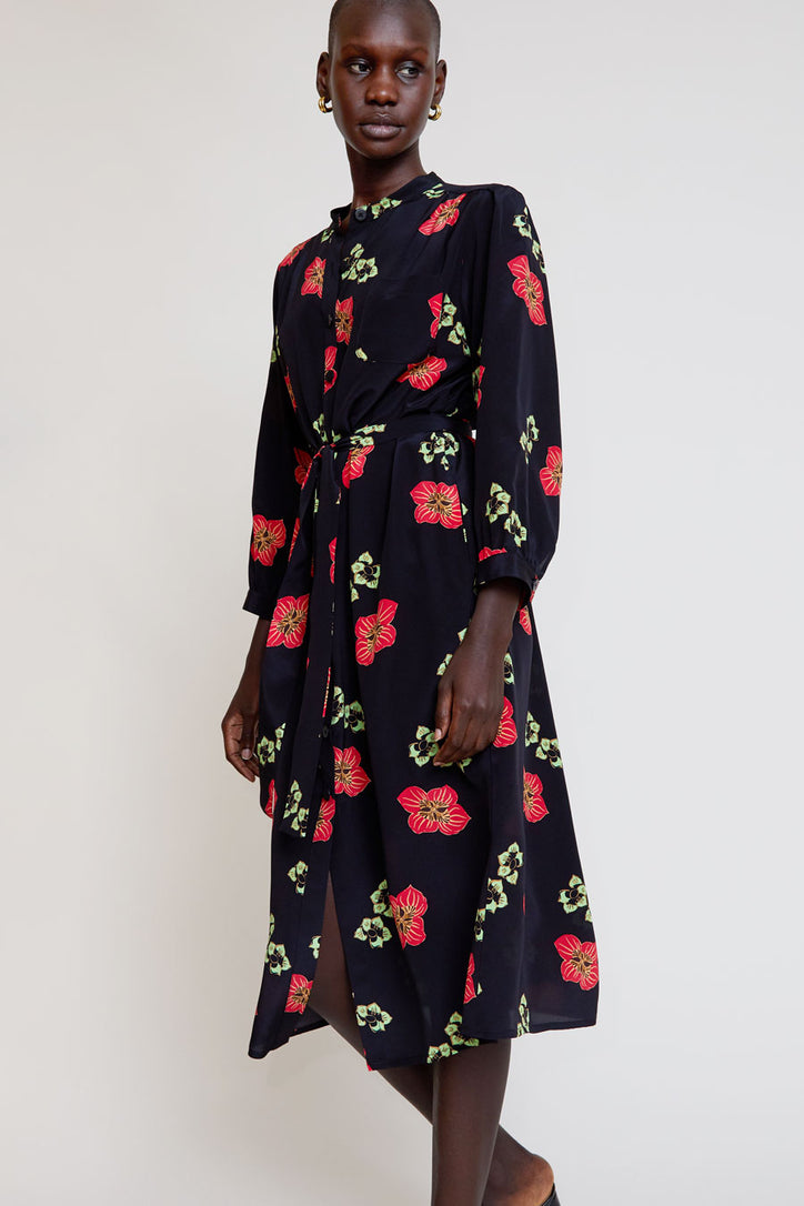 Image of No.6 Elena Shirt Dress in Black and Red Amalfi