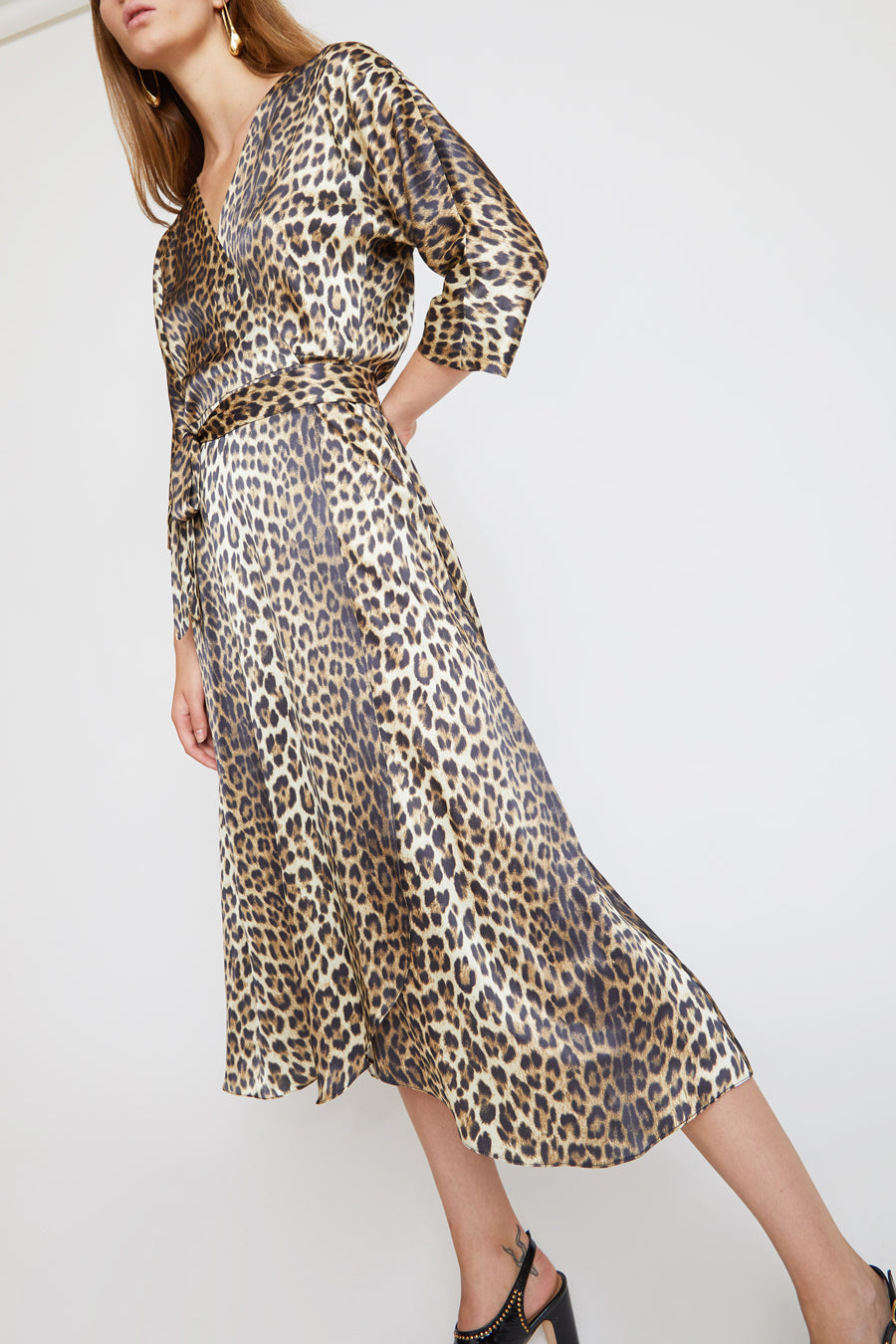 No.6 Georgia Wrap Dress in Leopard Charmeuse