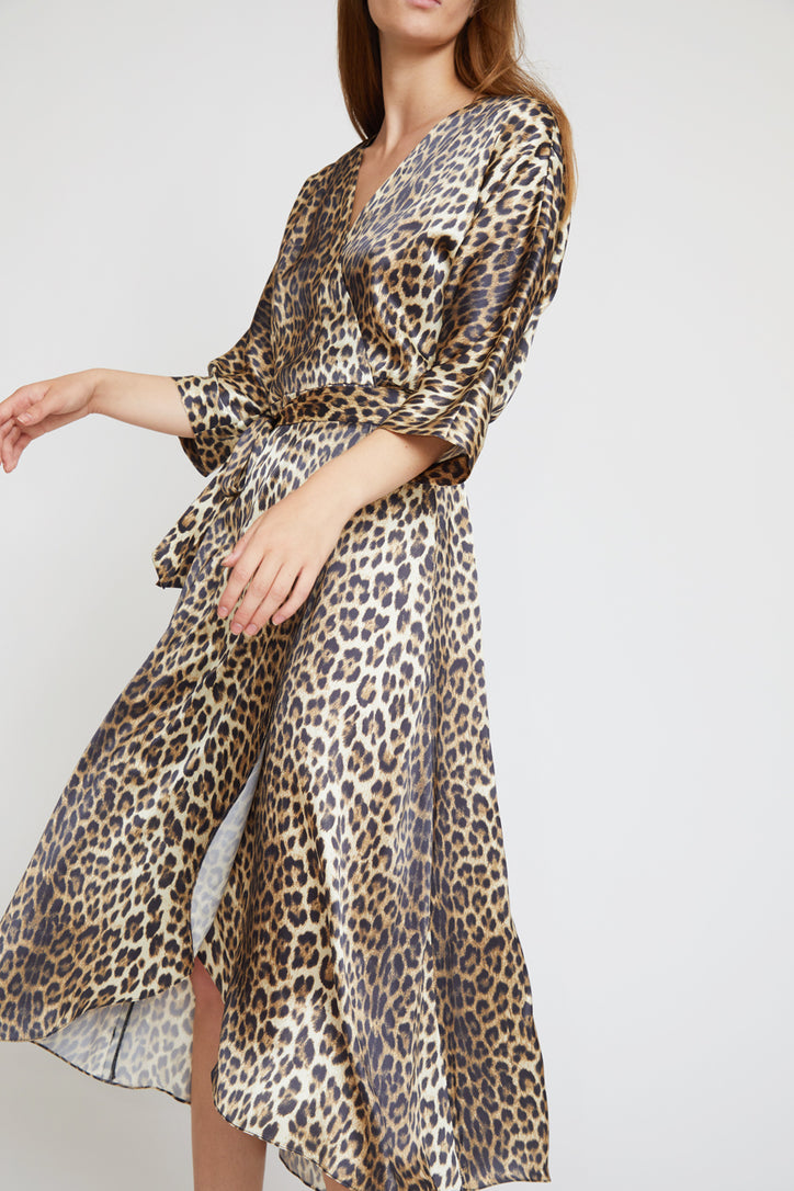 Image of No.6 Georgia Wrap Dress in Leopard Charmeuse