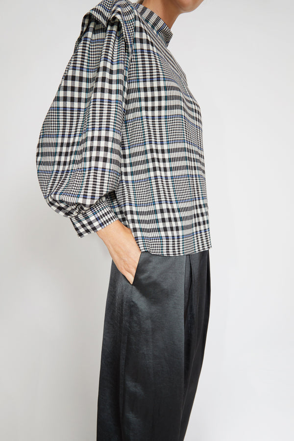 No.6 Gillian Top in Black / Cream Lightweight Plaid
