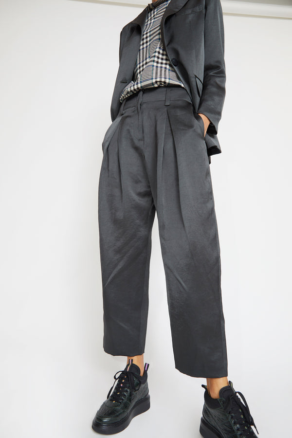 No.6 Hollis Pant in Petrol Sateen