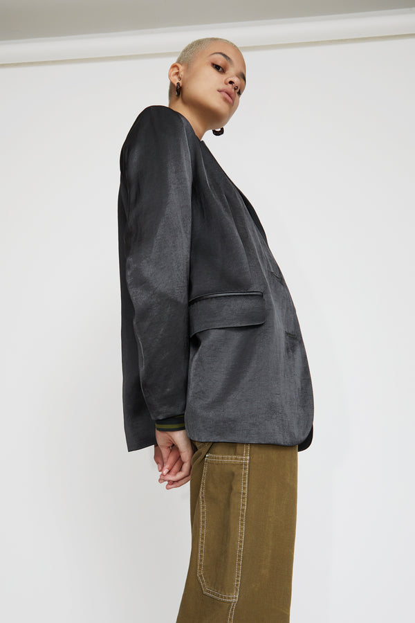No.6 Leon Blazer in Petrol Sateen