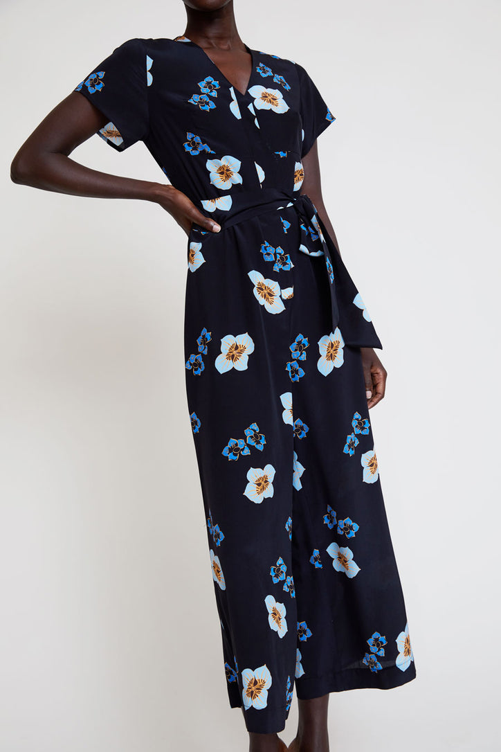 Image of No.6 Miriam V Neck Jumpsuit in Blue Amalfi