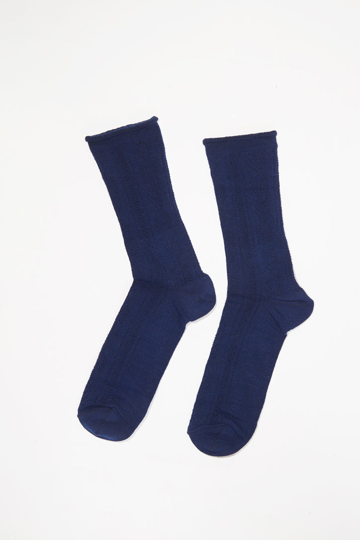 Image of No.6 Open Work Sock in Navy