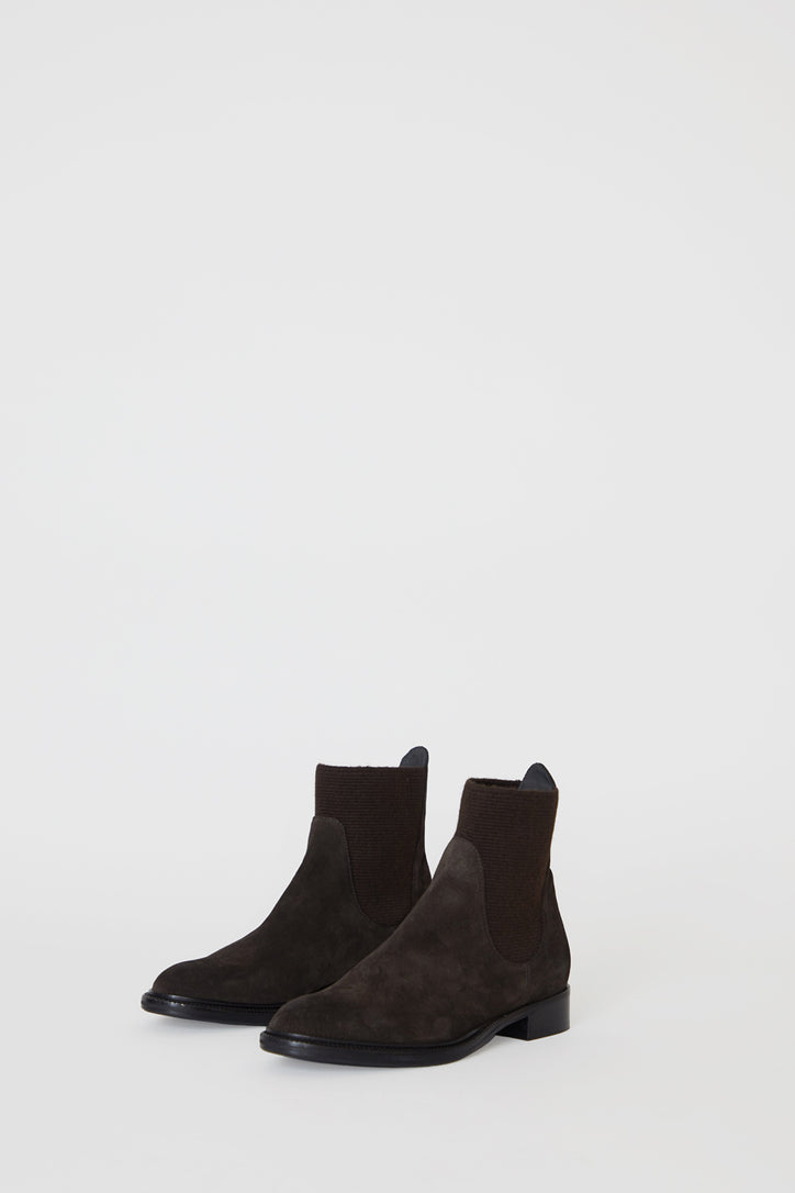 Image of No.6 Flat Suede Pull on Boot in Espresso