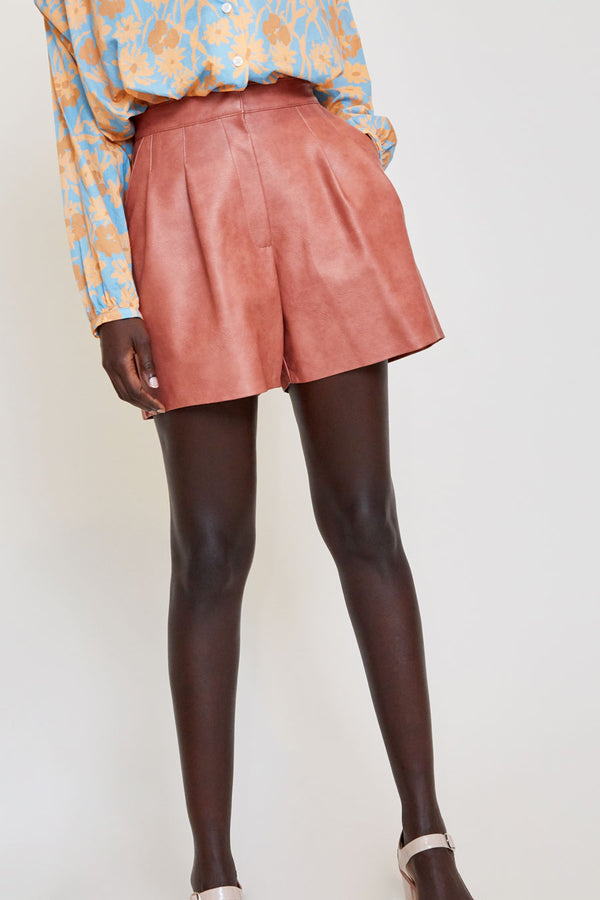No.6 Annika Pleated Short in Rose Faux Leather