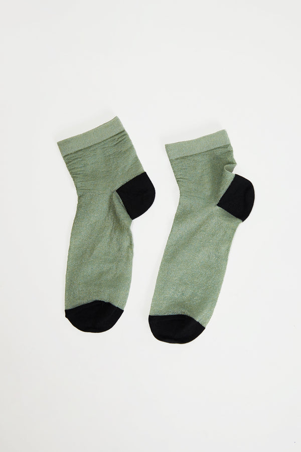 No.6 Silk And Lurex Sock in Mint and Black