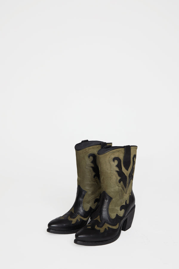 No.6 Slouch Western Boot in Toledo Nero and Forestra