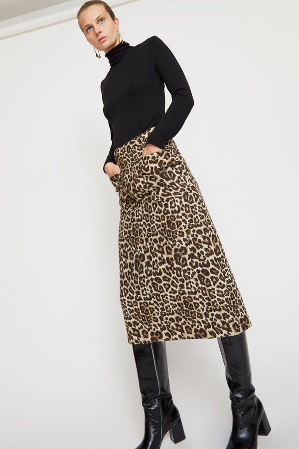 No.6 Sylvia Skirt in Leopard Chenille