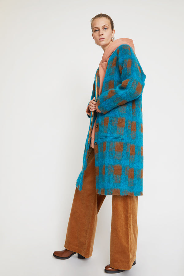 No.6 Taryn Lined Jacket in Turquoise Plaid Mohair