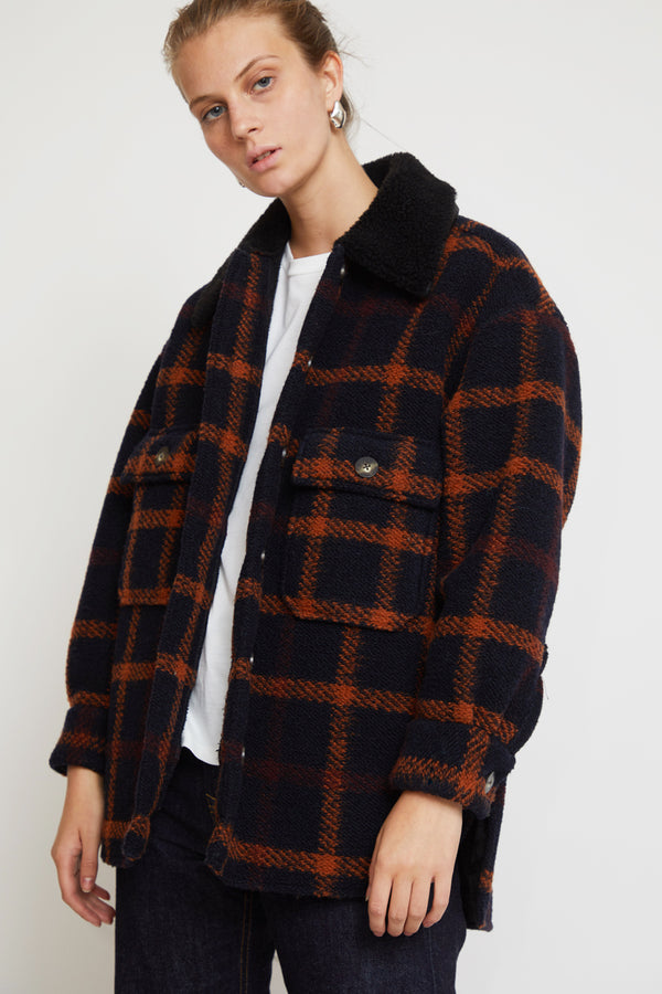 No.6 Wilson Jacket in Black Fleece Lined Plaid