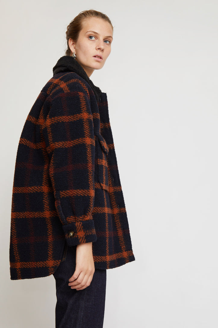 Image of No.6 Wilson Jacket in Black Fleece Lined Plaid