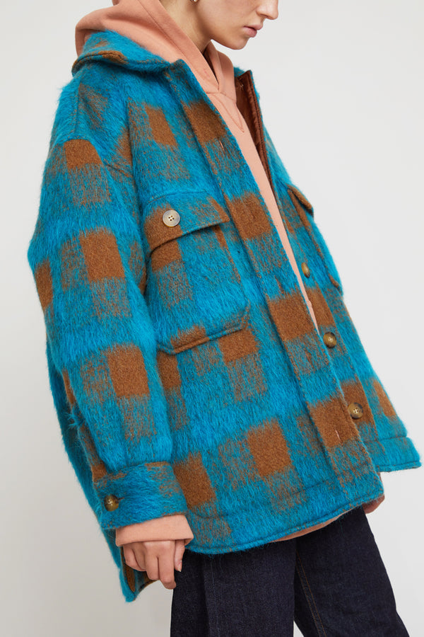 No.6 Wilson Jacket in Turquoise Plaid Mohair
