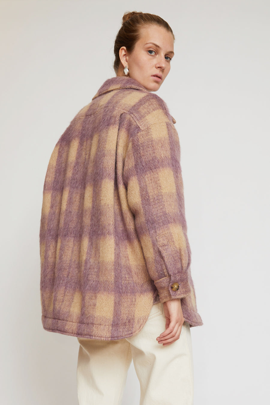 No.6 Wilson Jacket in Violet Plaid Mohair