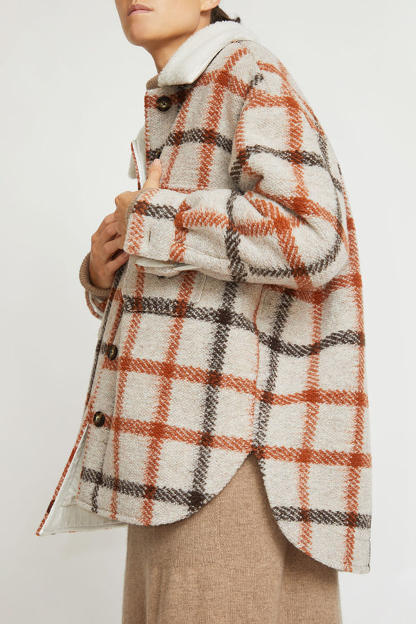 No.6 Wilson Jacket in Natural Fleece Lined Plaid