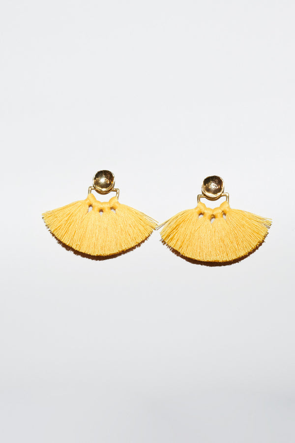 Ora-C Jacket Fringe Earrings in Brass / Yellow
