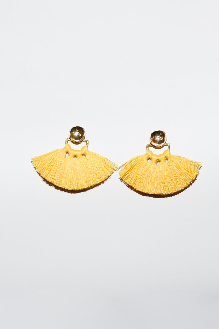 Image of Ora-C Jacket Fringe Earrings in Brass / Yellow