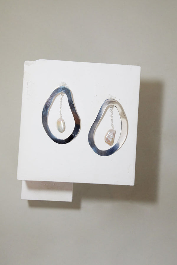 Paige Cheyne Roe Earrings in Sterling Silver with Baroque Pearl