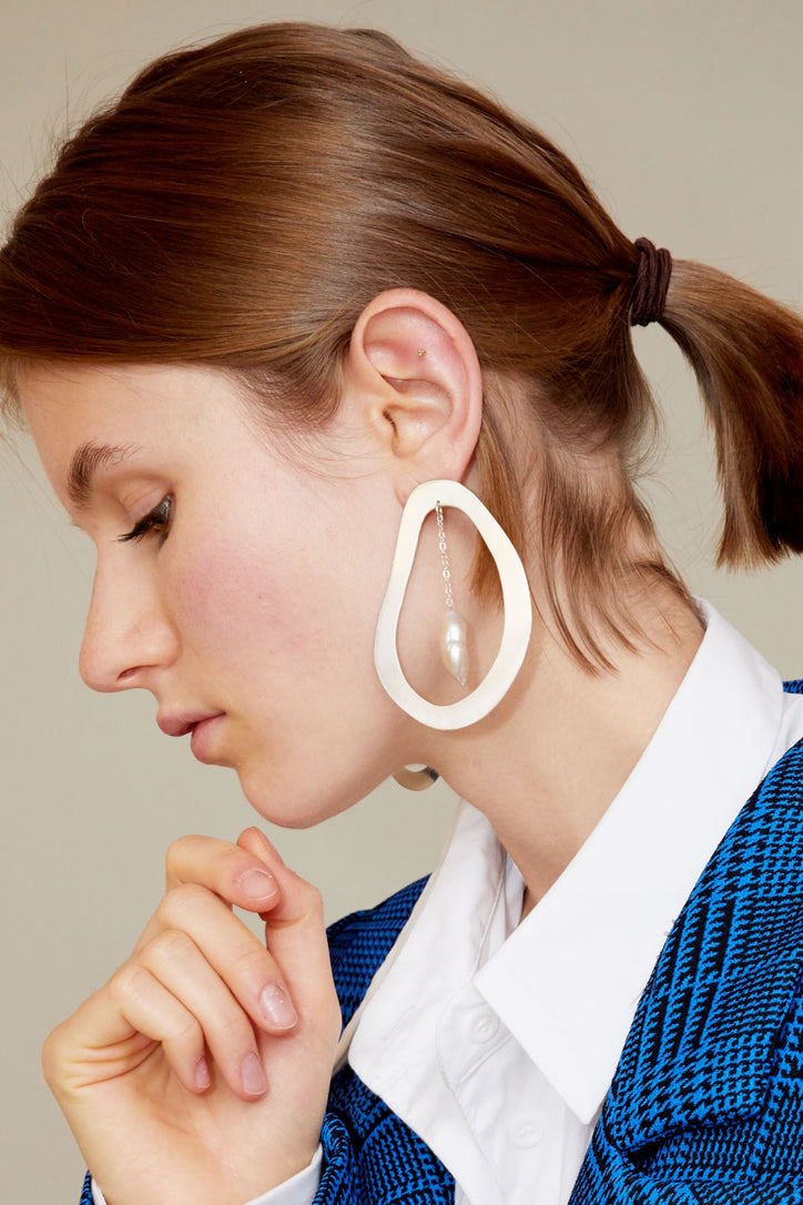 Image of Paige Cheyne Roe Earrings in Sterling Silver with Baroque Pearl