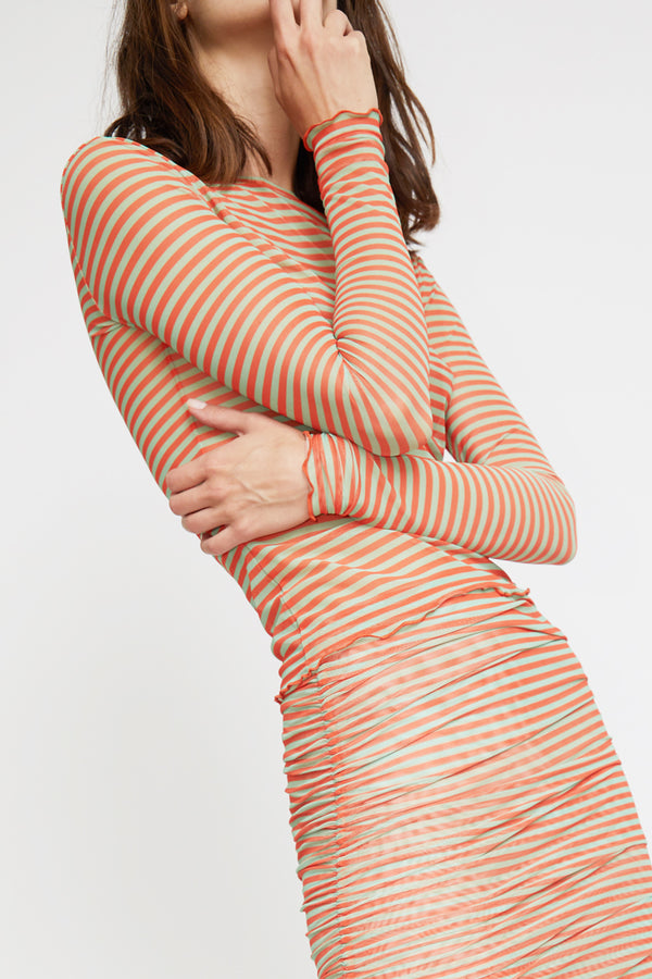 Priscavera Long Sleeve Mesh Top in Stripes