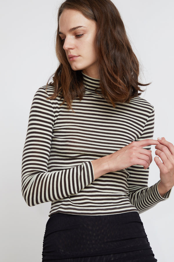 Priscavera Mock Neck Fitted Top in Stripes