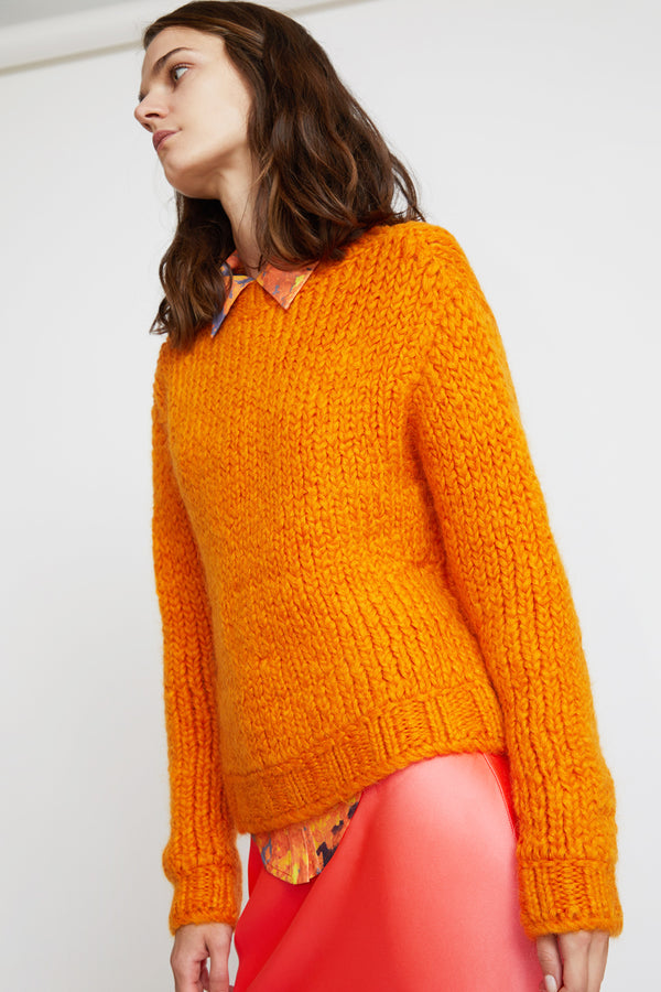 Priscavera Mock Neck Ribbed Sweater in Tangerine