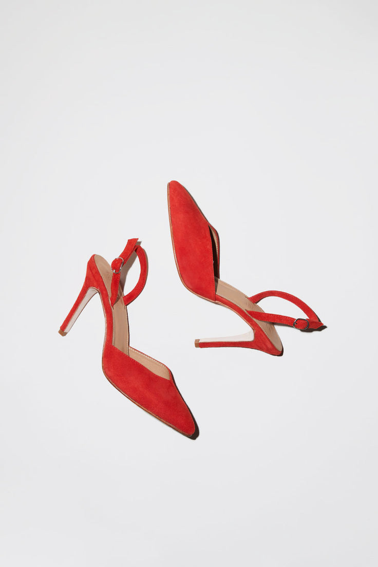 Image of No.6 Monika V Front Heel in Flame Suede