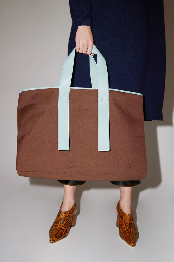 Rejina Pyo Carter Bag in Dark Brown / Blue
