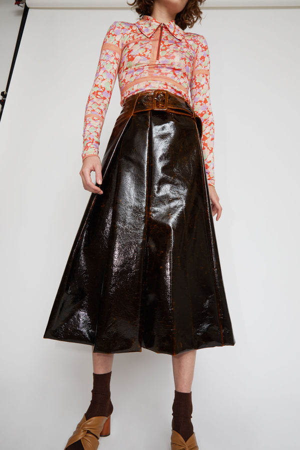 Rejina Pyo Ellis Skirt in Brown Laminated Wool