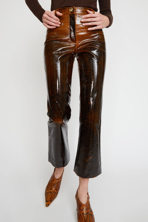 Rejina Pyo Maeve Trousers in Brown Laminated Wool