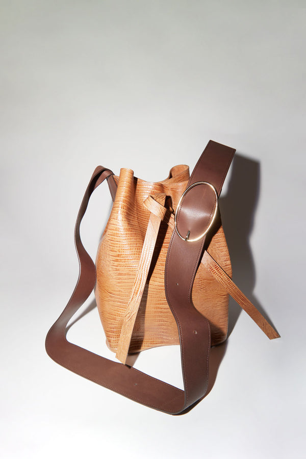 Rejina Pyo Marlene Bag in Embossed Lizard Brown