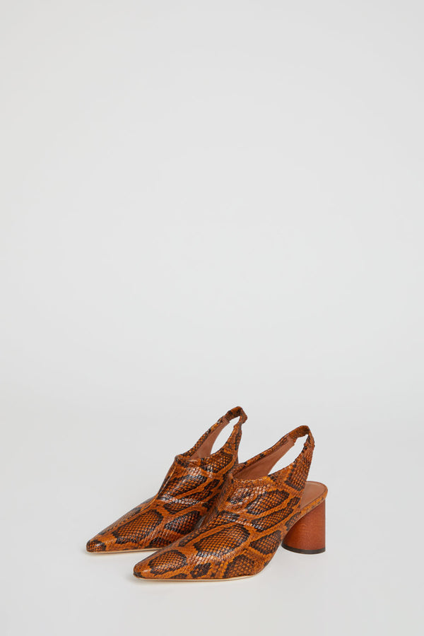 Rejina Pyo Riley Slingback in Orange Python Effect Leather
