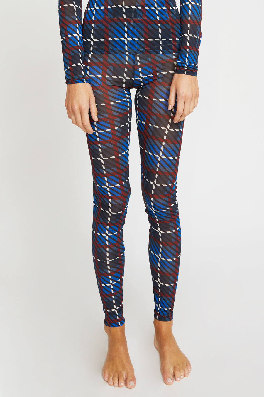 Rodebjer Bianca Legging in Denim Blue Plaid