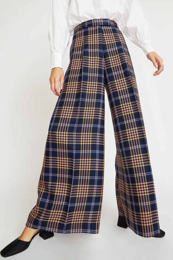 Rodebjer Gizella Check Pant in Dark Navy